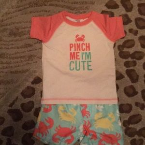 Carters crab toddler two piece short bathing suit